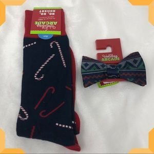 Christmas bow tie and sock gift set for men